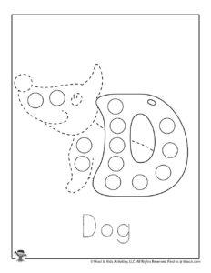 D is for Dog Preschool Coloring Worksheet