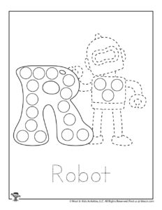 R is for Robot Tracing Dot Coloring Sheet