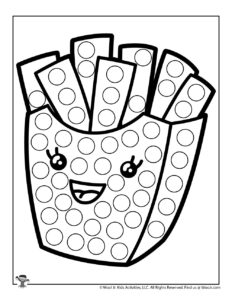French Fries Printable Preschool Dot Coloring Page
