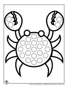 Crab Ocean Free Printable Dot Coloring Sheet