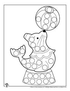 Ocean Seal Printable Dot Coloring Page