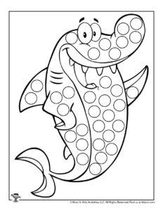 Shark Ocean Animal Dot Marker Activity Page