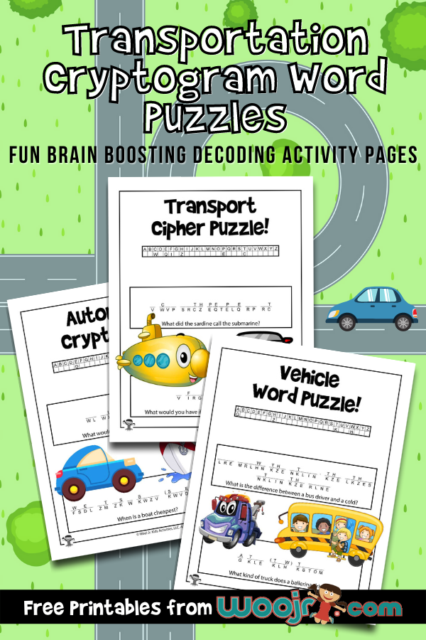 Transportation Cryptogram Word Puzzles