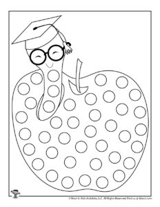 Book Worm Dot Coloring Page for Kids