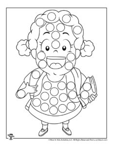 Set of Back to School Dot Marker Coloring Pages