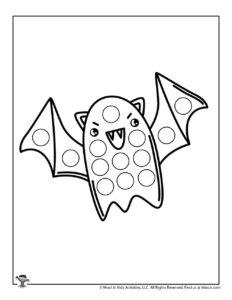 Kawaii Bat Printable Dot Coloring Sheet