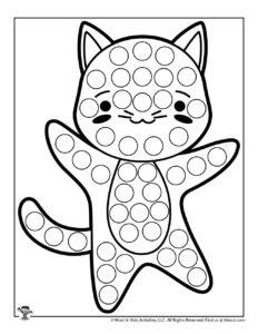 Cat Printable Dauber Coloring Page for Kids