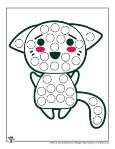 Blushing Cat Do a Dot Preschool Activity Page