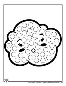 Kawaii Cloud Big Dot Coloring Sheet