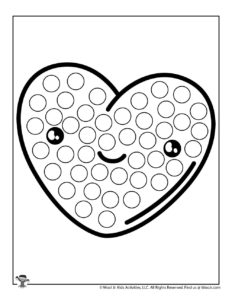 Cute Kawaii Heart Do a Dot Coloring Worksheet
