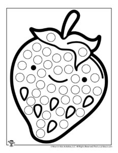Strawberry Kawaii Do a Dot Art Coloring Sheet