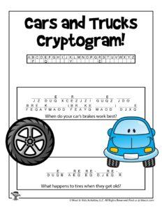 Cryptograms Transportation Word Puzzle Worksheet