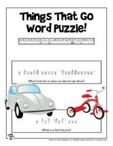 Transportation Cryptogram Cipher Puzzle Worksheet