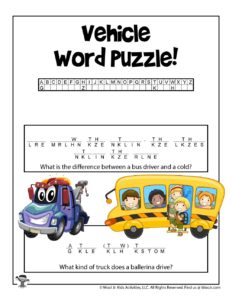 Transportation Printable Word Puzzle Cryptograms