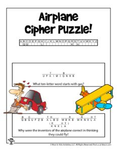 Airplane Cipher Word Puzzle to Print