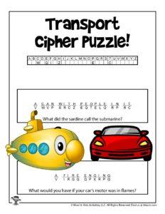 Transportation Cryptogram Word Puzzles - KEY