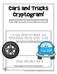 Cars and Trucks Unlock the Code Puzzles - KEY