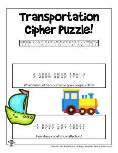 Transportation Printable Word Game for Kids - KEY