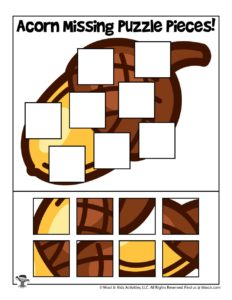 Acorn Fall Printable Missing Puzzle Pieces Activity
