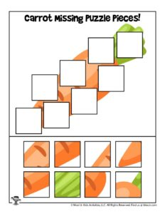 Carrot Printable Jigsaw Puzzle Activity for Kids