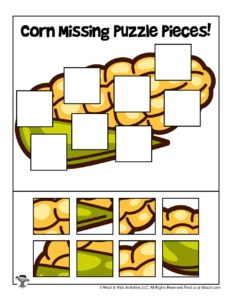 Corn Harvest Fall Missing Puzzle Piece Games for Kids