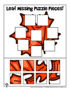 Fall Leaf Easy Puzzle Activity for Children