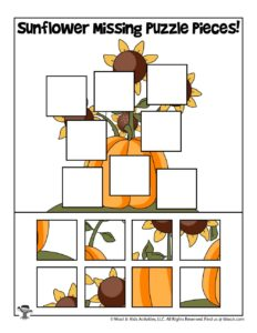 Sunflowers Printable Fall Preschool Puzzle Activity