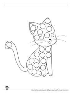 Black Cat Halloween Do a Dot Art Coloring Sheet for Kids