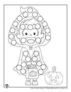Trick or Treat Free Halloween Printable Dot Coloring Sheet