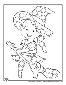 Little Witch Halloween Dot Coloring Pages