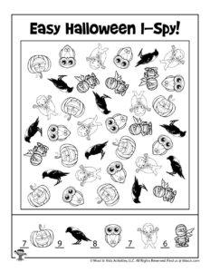 Halloween I Spy Activity Worksheet - ANSWER KEY