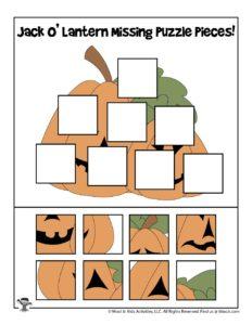 Jack o Lantern Printable Puzzle Activity for Preschoolers