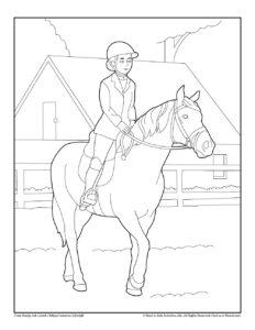 Horseback Riding Free Printable Coloring Page
