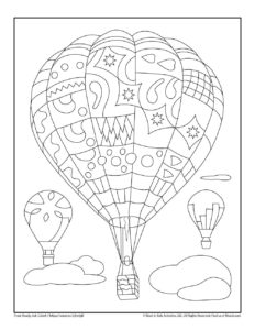 Hot Air Balloon Transportation Theme Coloring Worksheet