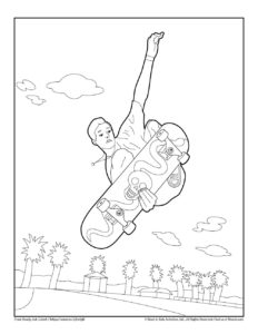 Skateboard Transport Coloring Pages to Print