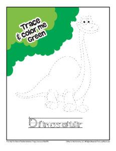 Dinosaur Tracing Coloring Page