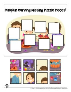 Halloween Cut and Paste Missing Puzzle Piece Game