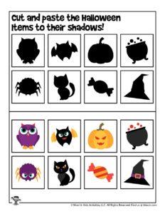 Halloween Preschool Cut and Paste Matching Activity
