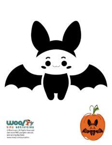 Halloween Kawaii Bat Pumpkin Stencil