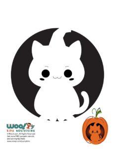 Cute Kawaii Cat Pumpkin Template