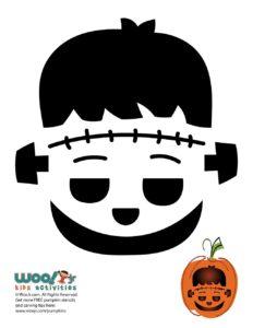 Frankenstein Halloween Pumpkin Stencil