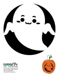 Cute Kawaii Ghost Printable Pumpkin Stencil