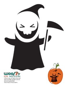 Halloween Grim Reaper Pumpkin Stencil
