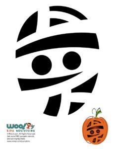 Mummy Pumpkin Carving Stencils to Print