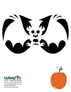 Steampunk Bat Halloween Pumpkin Pattern to Print